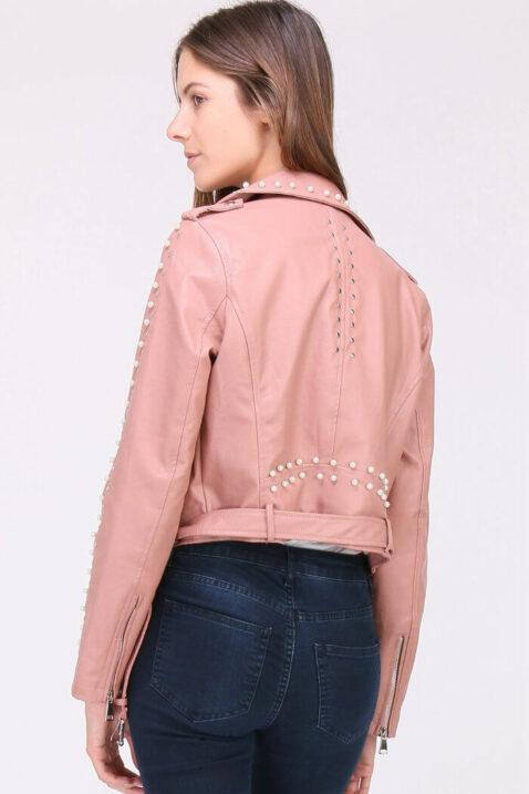 Rosa Damen Jacke Lederimitat mit Nieten & Perlen - kurz & gefüttert von J&W Paris - Rückenansicht