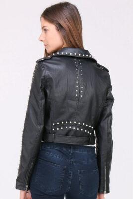 Schwarze Damen Jacke Lederimitat mit Nieten & Perlen - kurz & gefüttert von J&W Paris - Rückenansicht