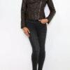 Braune Damen Lederimitatjacke im Biker Style - Kunstlederjacke von King of Fashion - Ganzkörperansicht