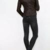 Braune Damen Lederimitatjacke im Biker Style - Kunstlederjacke von King of Fashion - Rückenansicht