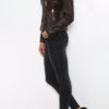 Braune Damen Lederimitatjacke im Biker Style - Kunstlederjacke von King of Fashion - Seitenansicht