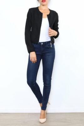 Lantin schwarzer Damen Casual Blazer mit Reißverschluss und leichter Struktur – Ganzkörperansicht