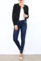 Schwarzer Damen Casual Blazer mit Reißverschluss und leichter Struktur von Lantin - Ganzkörperansicht