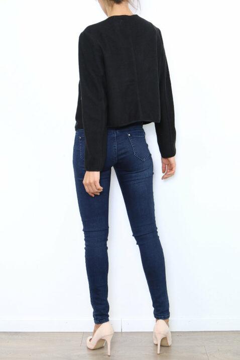 Schwarzer Damen Casual Blazer mit Reißverschluss und leichter Struktur von Lantin - Rückenansicht