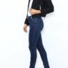 Schwarzer Damen Casual Blazer mit Reißverschluss und leichter Struktur von Lantin - Seitenansicht