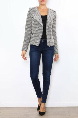 Laura JO taupe Damen Jackenbazer mit asymmetrischem Reißverschluss – Bouclé gemustert & Glanzfäden – Ganzkörperansicht