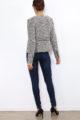 Taupe Damen Jackenbazer mit asymmetrischem Reißverschluss - Bouclé gemustert & Glanzfäden von Laura JO - Rückenansicht