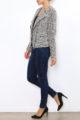 Taupe Damen Jackenbazer mit asymmetrischem Reißverschluss - Bouclé gemustert & Glanzfäden von Laura JO - Seitenansicht