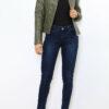 Khaki Damen Jacke im authentischen Leder-Look - Kunstlederjacke von Laura JO - Ganzkörperansicht