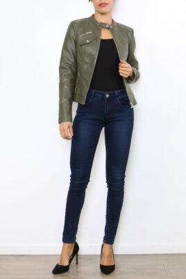 Laura JO khaki Damenjacke im authentischen Leder-Look – Kunstlederjacke – Ganzkörperansicht