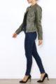 Khaki Damen Jacke im authentischen Leder-Look - Kunstlederjacke von Laura JO - Seitenansicht