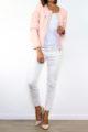 Rosa Damen Kunstlederjacke mit Nieten-Applikationen - Lederimitat von Laura JO - Ganzkörperansicht