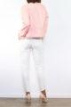 Rosa Damen Kunstlederjacke mit Nieten-Applikationen - Lederimitat von Laura JO - Rückenansicht