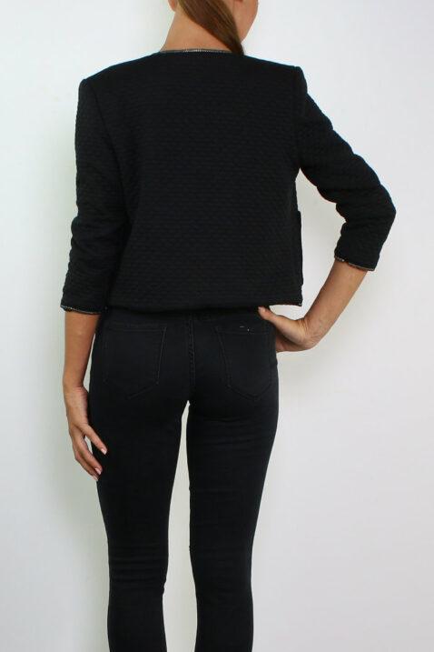 Schwarzer Damen Kurzblazer im strukturierten Design von Lucy & Co Paris - Rückenansicht