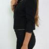 Schwarzer Damen Kurzblazer im strukturierten Design von Lucy & Co Paris - Seitenansicht