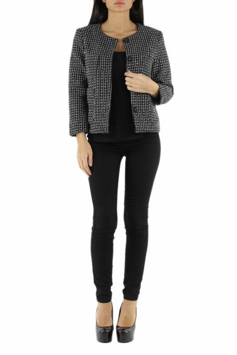 Schwarzer Damen Jacquard-Blazer gemustert & Glitzereffekt von Lucy & Co Paris - Ganzkörperansicht