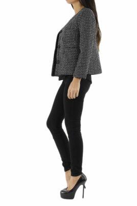 Schwarzer Damen Jacquard-Blazer gemustert & Glitzereffekt von Lucy & Co Paris - Seitenansicht