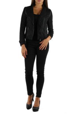 M&G Monogram schwarze leichte Damen Jacke im Biker Look – Ganzkörperansicht