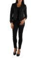 Schwarze leichte Damen Jacke im Biker Look von M&G Monogram - Ganzkörperansicht