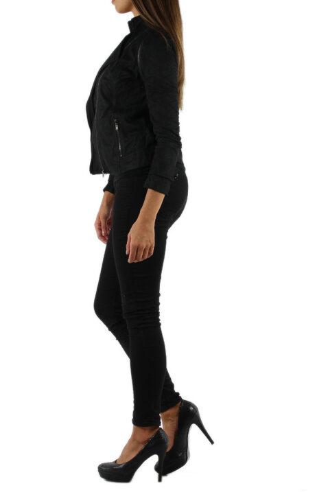 Schwarze leichte Damen Jacke im Biker Look von M&G Monogram - Seitenansicht