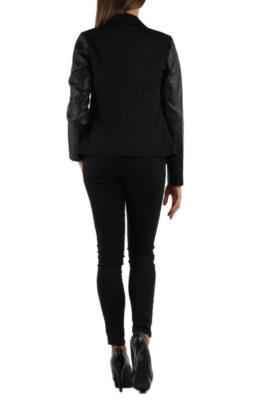 Schwarze Damen Blazerjacke mit Ärmel in Leder-Optik von M&G Monogram - Rückenansicht