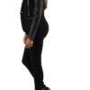 Schwarze Damen Blazerjacke mit Ärmel in Leder-Optik von M&G Monogram - Seitenansicht