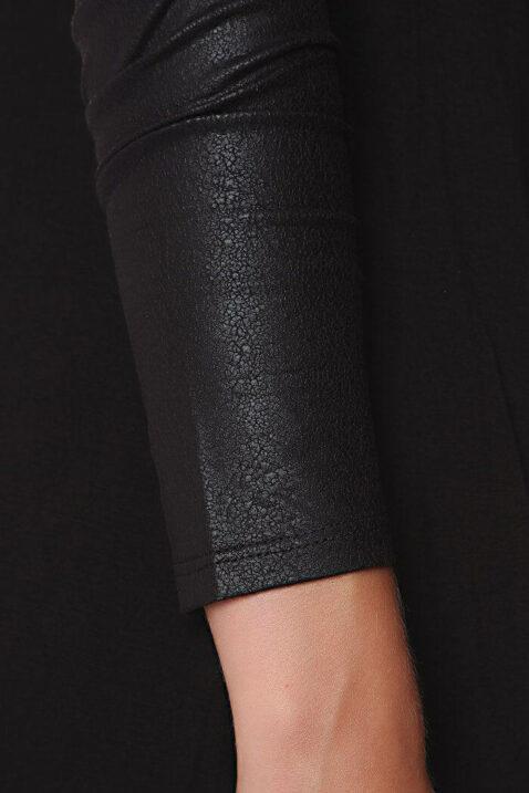 Schwarze dünne Damen Strickjacke mit Ärmel in Schlangenlederoptik von Q2 - Detailansicht