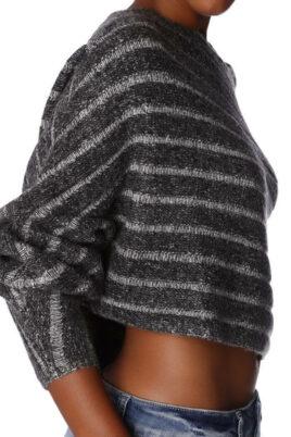Grau gestreifter kurzer Damen Pullover asymmetrisch & Dreiviertelärmel von Q2 - Detailansicht