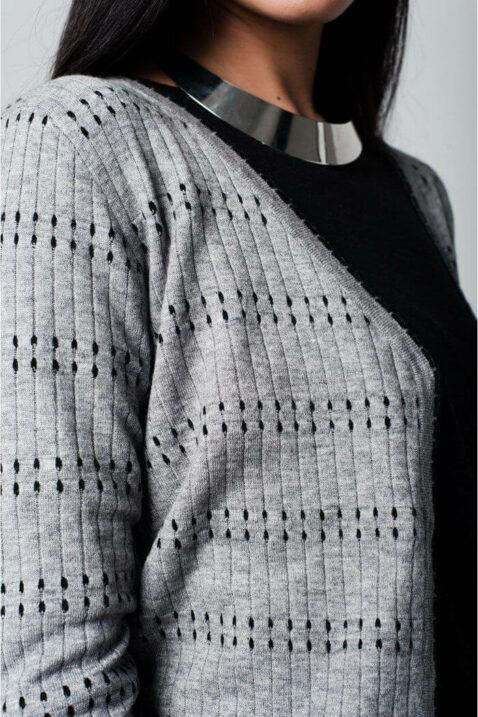 Graue Damen Strickjacke gemustert & gepunktet von Q2 - Detailansicht