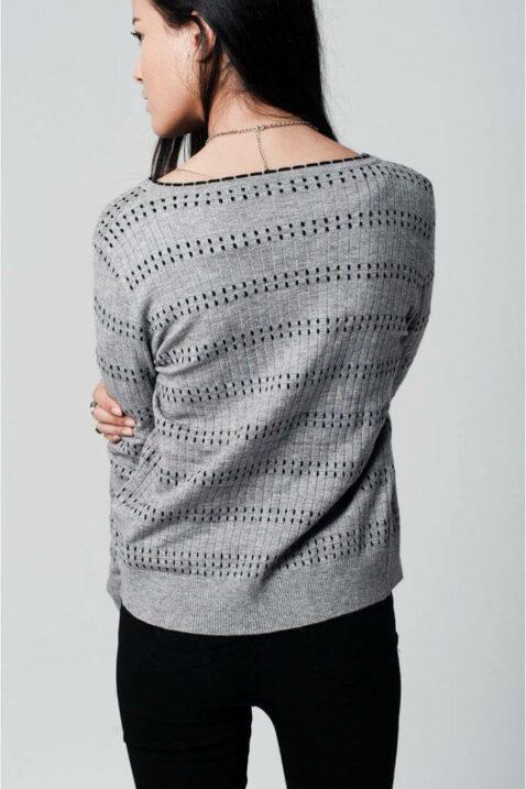 Graue Damen Strickjacke gemustert & gepunktet von Q2 - Rückenansicht
