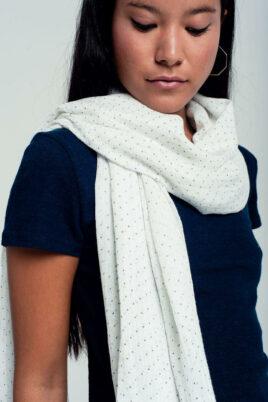 Leichter weißer Damen Schal mit grauen Punkten, Tupfen & Fransen Modeschal von Q2 - Seitenansicht