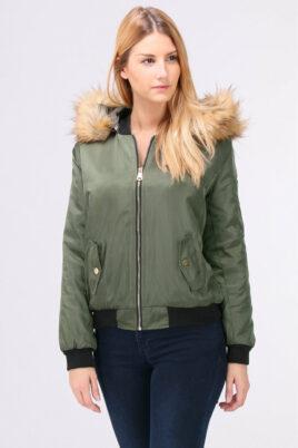 Bella Collection khaki grüne Damen Bomberjacke mit abnehmbarer Kapuze aus Kunstfell – Vorderansicht