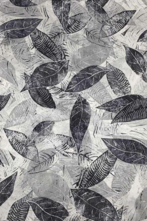 Grauer Damen Seidenschal mit Blätter-Print - florales Seidentuch von By Oceane - Detailansicht