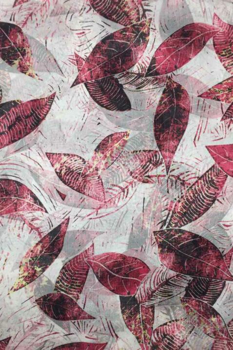 Bordeaux roter Damen Seidenschal mit Blätter-Print - florales Seidentuch von By Oceane - Detailansicht