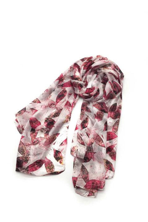 Bordeaux roter Damen Seidenschal mit Blätter-Print - florales Seidentuch von By Oceane - Ganzansicht