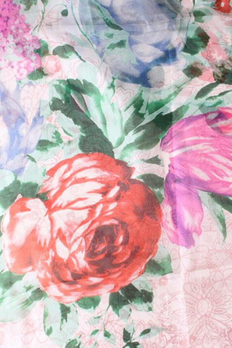 Rosa Damen Seidenschal in floraler Optik - Blumen & Blätter Seidentuch von By Oceane - Detailansicht