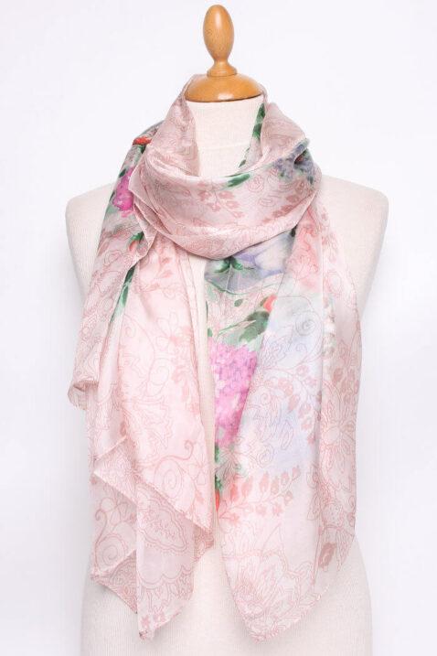 Rosa Damen Seidenschal in floraler Optik - Blumen & Blätter Seidentuch von By Oceane - Ganzansicht