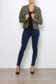 Khaki Damen Kunstlederjacke mit gesteppten Details - PU Leder, Lederimitat, Bikerjacke von Crazy Lover - Ganzkörperansicht