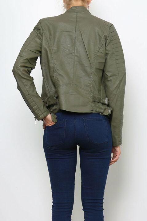 Khaki Damen Kunstlederjacke mit gesteppten Details - PU Leder, Lederimitat, Bikerjacke von Crazy Lover - Rückenansicht