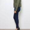 Khaki Damen Kunstlederjacke mit gesteppten Details - PU Leder, Lederimitat, Bikerjacke von Crazy Lover - Seitenansicht