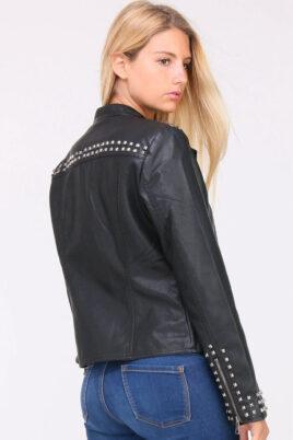 Schwarze Damen Kunstlederjacke mit Nieten - Lederimitatjacke & Bikerjacke von C.M.P.55 - Rückenansicht