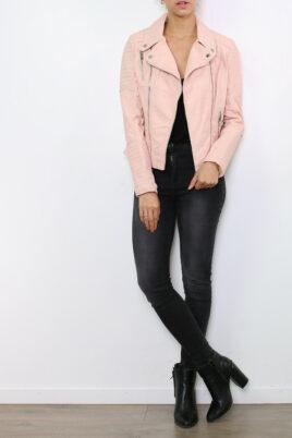 Colynn rosa Damen Kunstlederjacke in leichter Crash-Optik – gestepptes Lederimitat & PU-Leder – Ganzkörperansicht