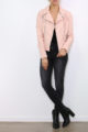 Rosa Damen Kunstlederjacke in leichter Crash-Optik - gestepptes Lederimitat & PU-Leder von Colynn - Ganzkörperansicht