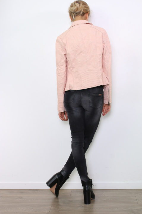Rosa Damen Kunstlederjacke in leichter Crash-Optik - gestepptes Lederimitat & PU-Leder von Colynn - Rückenansicht