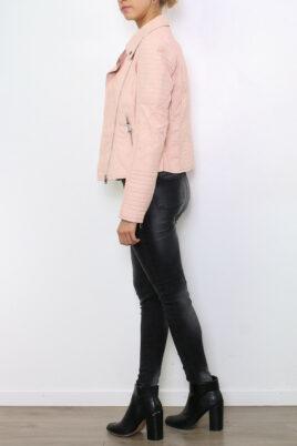 Rosa Damen Kunstlederjacke in leichter Crash-Optik - gestepptes Lederimitat & PU-Leder von Colynn - Seitenansicht