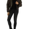 Braune warme Damen Winterjacke mit Kapuze & abnehmbaren Kunstfellkragen gefuettert von Colynn - Ganzkörperansicht