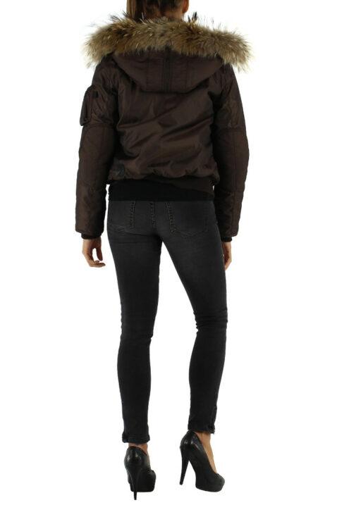 Braune warme Damen Winterjacke mit Kapuze & abnehmbaren Kunstfellkragen gefuettert von Colynn - Rückenansicht