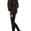 Braune warme Damen Winterjacke mit Kapuze & abnehmbaren Kunstfellkragen gefuettert von Colynn - Seitenansicht