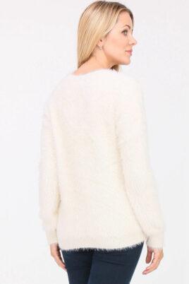 Beiger Damen Pullover in Fransenoptik & Perlen von Cherry Paris - Rückenansicht
