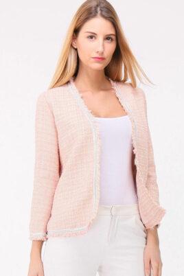 Cherry Paris rosa Damen Jaquard-Blazer in Fransenoptik mit Glanzeffekt – Vorderansicht